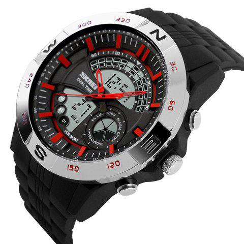 Fashion SKMEI Outdoor Timer Tachymeter Digital Sports Watch - SILVER AND RED  Mobile