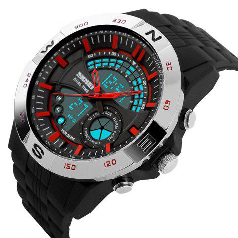 Unique SKMEI Outdoor Timer Tachymeter Digital Sports Watch - SILVER AND RED  Mobile