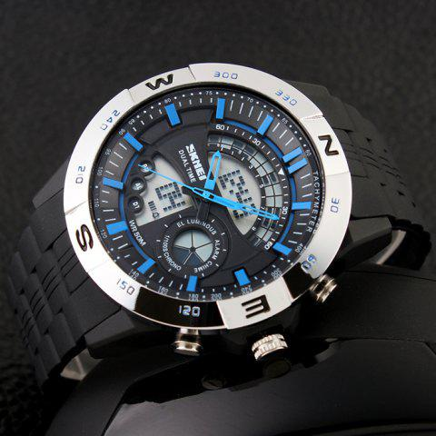 Online SKMEI Outdoor Timer Tachymeter Digital Sports Watch - SILVER AND BLUE  Mobile