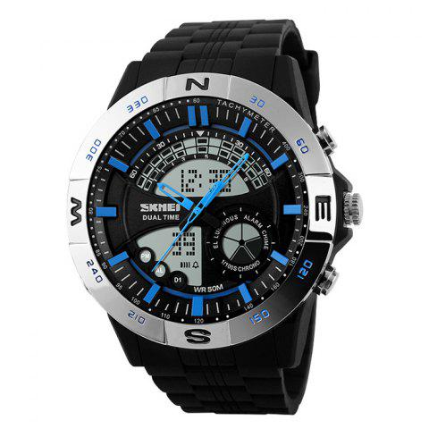 Unique SKMEI Outdoor Timer Tachymeter Digital Sports Watch - SILVER AND BLUE  Mobile