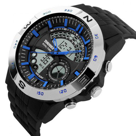 Fashion SKMEI Outdoor Timer Tachymeter Digital Sports Watch - SILVER AND BLUE  Mobile