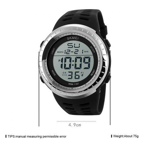 Hot SKMEI Pedometer Luminous Digital Sports Watch - SILVER  Mobile