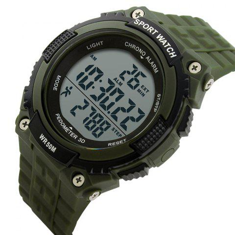 New SKMEI Outdoor Pedometer Digital Sports Watch - ARMY GREEN  Mobile