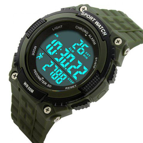 Trendy SKMEI Outdoor Pedometer Digital Sports Watch - ARMY GREEN  Mobile