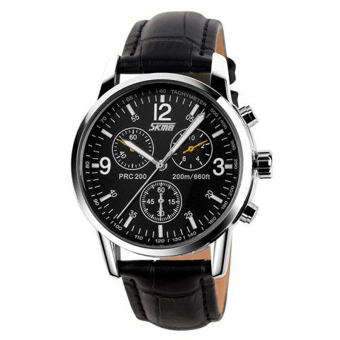 Online SKMEI Faux Leather Tachymeter Quartz Watch BLACK