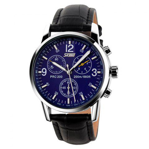 Latest SKMEI Faux Leather Tachymeter Quartz Watch BLUE