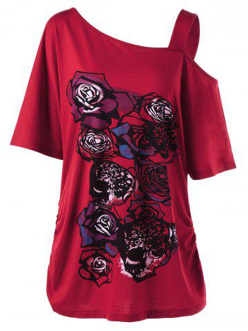 Affordable Skew Collar Rose Print Long Shirred T-Shirt RED 5XL