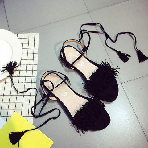 Latest Fringe Flat Heel Sandals - 37 BLACK Mobile