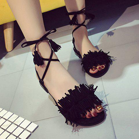 Sale Fringe Flat Heel Sandals - 37 BLACK Mobile