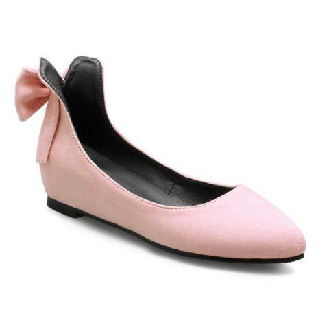 Buy PU Leather Bow Flat Shoes - Pink 38