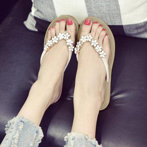 Outfit Flower Rhinestone Flat Flip Flips - OFF-WHITE 38 Mobile