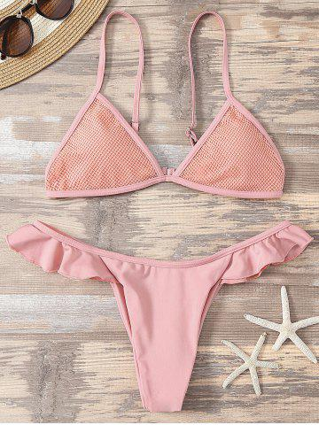 Affordable Mesh Insert Bathing Suit with Ruffles PINK M