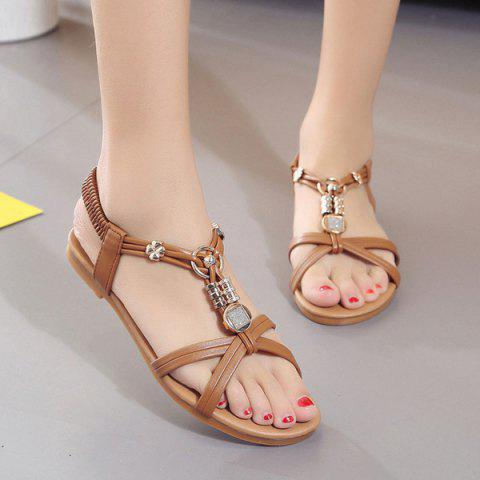 Cross Strap Faux Leather Sandals - Brown - 40