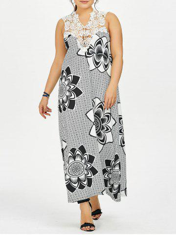 Buy Cutwork Lotus Print Plus Size Maxi Dress - White Black 4XL