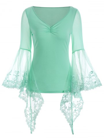 Store V Neck Bell Sleeve Sheer Lace Panel T-Shirt CLOVER M