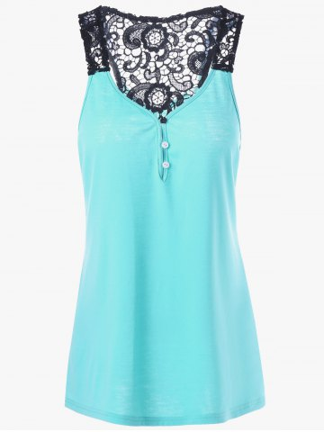 Outfit Button Lace Back Racerback Tank Top - LAKE BLUE XL Mobile