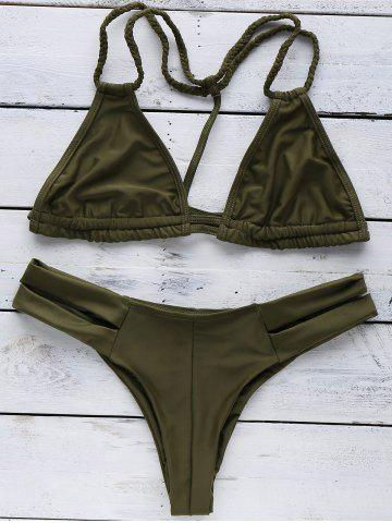 Cheap Trendy Halterneck Green Women's Bikini Set