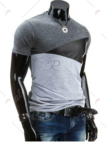 Best Casual Round Collar Pullover Color Block T-Shirt For Men - 2XL DEEP GRAY Mobile
