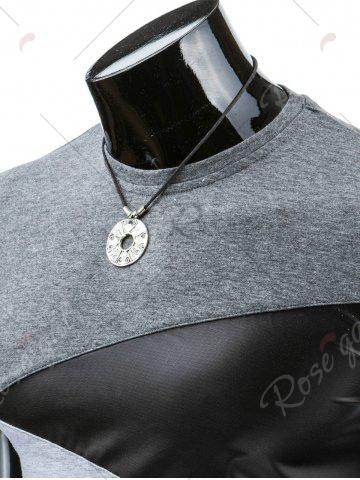 Online Casual Round Collar Pullover Color Block T-Shirt For Men - L DEEP GRAY Mobile