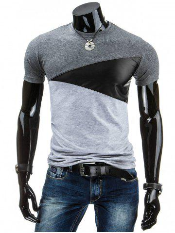 Discount Casual Round Collar Pullover Color Block T-Shirt For Men DEEP GRAY M