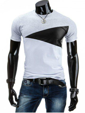 Outfits Casual Round Collar Pullover Color Block T-Shirt For Men - L LIGHT GRAY Mobile