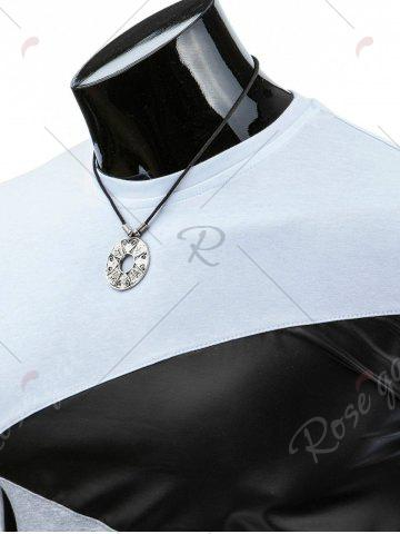 Latest Casual Round Collar Pullover Color Block T-Shirt For Men - 2XL WHITE Mobile
