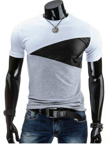 Cheap Casual Round Collar Pullover Color Block T-Shirt For Men - 2XL WHITE Mobile