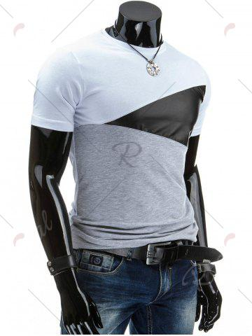 Chic Casual Round Collar Pullover Color Block T-Shirt For Men - XL WHITE Mobile