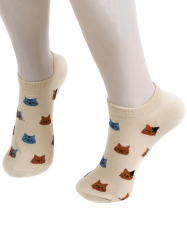 Cartoon Cat Head Embellished Loafer Ankle Socks -