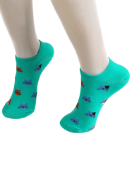 Cartoon Cat Head Embellished Loafer Socks