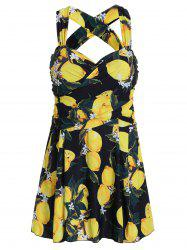 Lemon Print High Waist Plus Size Swimdress