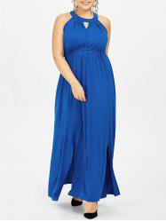 Plus Size Keyhole Sleeveless Maxi Evening Dress