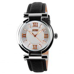 SKMEI Faux Leather Strap Quartz Watch
