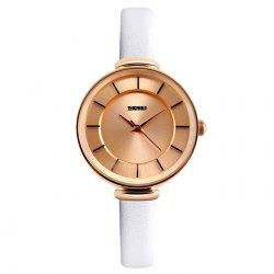 SKMEI Faux Leather Strap Minimalist Watch