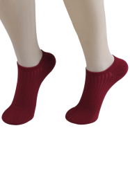Knited Striped Ankle Socks - Rouge vineux