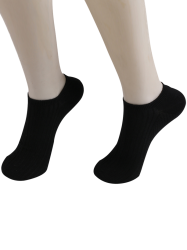 Knited Striped Ankle Socks - BLACK