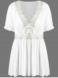 Plus Size Crochet Trim Peplum Blouse