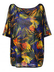 Plus Size Cold Shoulder Tropical Leaf Print Hawaiian T-Shirt