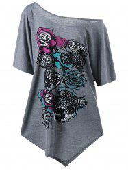 Plus Size One Shoulder Floral Asymmetrical T-Shirt