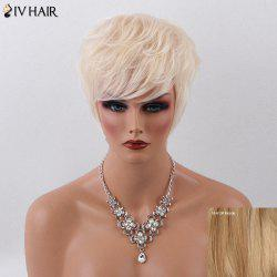 Siv Hair Short Layered Cut Sided Bang Fluffy Capless Human Hair Wig
