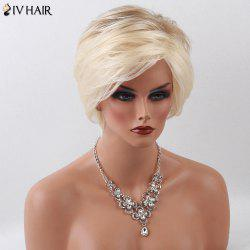 Siv Hair Short Fluffy Straight Side Bang Capless Human Hair Wig