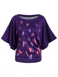 Digital Butterfly Print Batwing Top