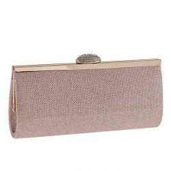 Metal Trim Rhinestone Textured Evening Bag