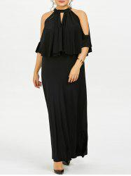 Plus Size Cold Shoulder Capelet Long Formal Dress