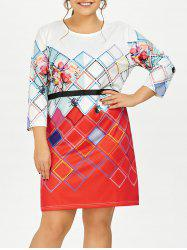 Plus Size Rhombus Printed Fitted Dress
