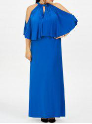 Plus Size Cold Shoulder Capelet Long Evening Dress