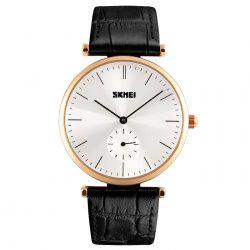 SKMEI Faux Leather Minimalist Quartz Watch