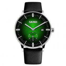 SKMEI Faux Leather Strap Quartz Date Watch - GREEN
