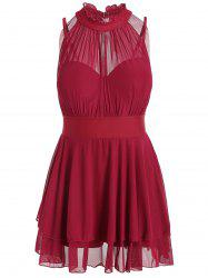 Mesh Insert Plus Size High Neck Swim Dress
