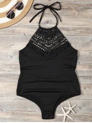 Crochet Insert Backless Halter Monokini Swimwear - BLACK